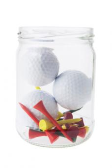 golf accessories in a jar
