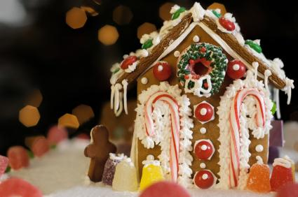 candy canes and gumdrops on gingerbread house