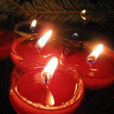 Red floating candles with pine sprig background