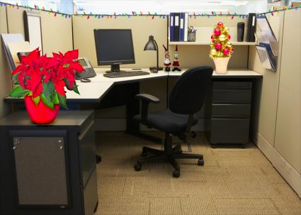 low key Christmas cubicle