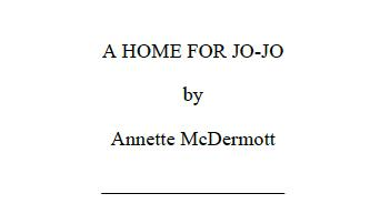 A Home for Jo-Jo