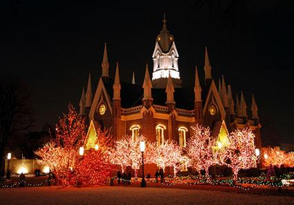 Temple Square lit up with lights