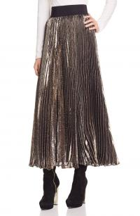 Gold Metallic Midi Skirt