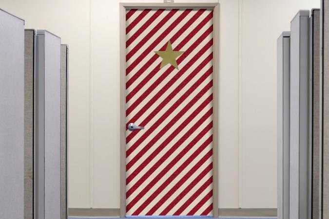 Christmas decorated door