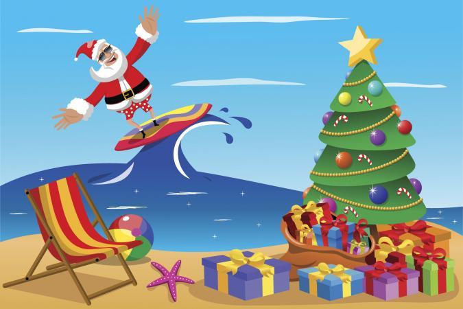 Santa Claus surfing