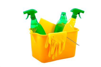 Keep all your cleaning remedies in one bucket for easy access.