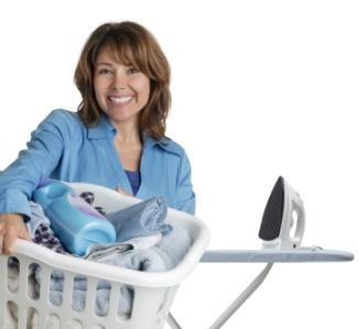 Woman with a basket of laundry