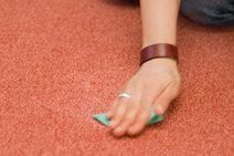 hand scrubbing carpet