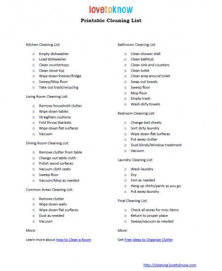 printable checklist for house cleaning