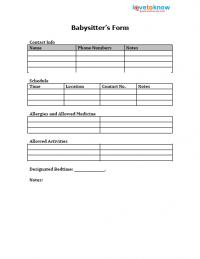 printable babysitter's form