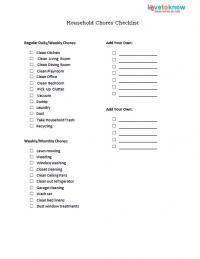 household chores checklist printable