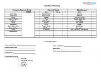 vacation planning checklist printable