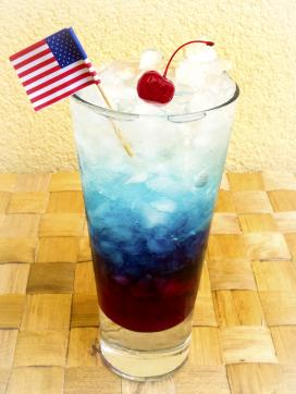 Red, white, and blue firecracker cocktail
