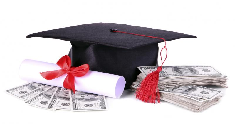 Graduation hat, money and scroll