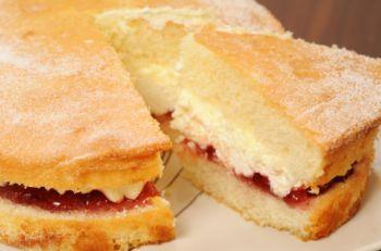 A Victoria sponge cake.