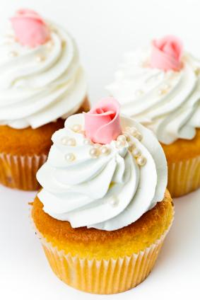 Whipped cream icing on cupcakes