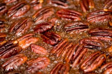 Pecan cake closeup