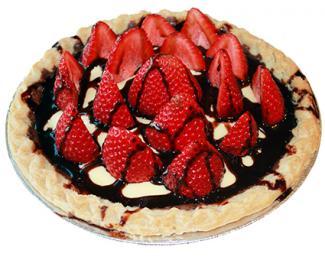 fudge pie with strawberries and chocolate ganache