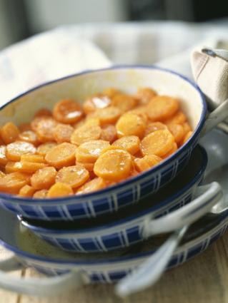 Glazed carrots in a bowl