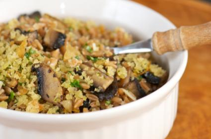 Farro and mushrooms