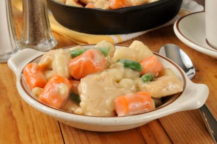 Bowl of homemade chicken and dumplings