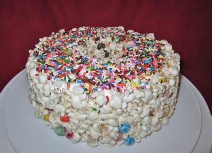 candy popcorn cake with sprinkles