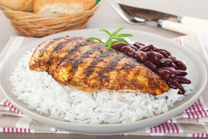 Grilled cajun chicken with rice and beans