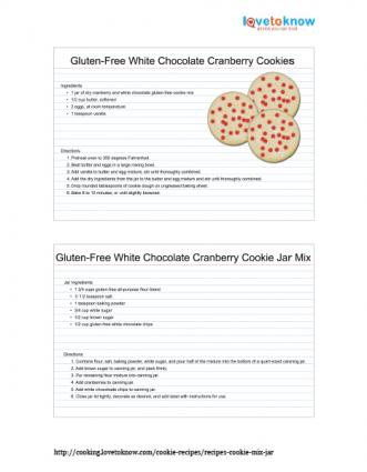 Gluten-free white chocolate cranberry cookies in a jar