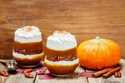 Pumpkin spice yogurt parfait
