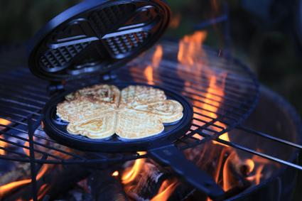Waffles over campfire