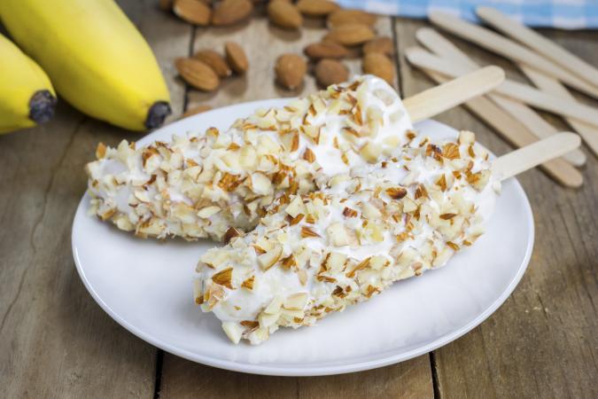 Almond banana yogurt popsicles