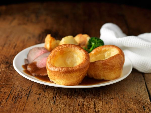 Yorkshire pudding with beef and vegetables
