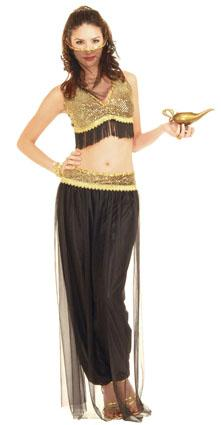 Black and gold belly dancing costume from Costume Craze