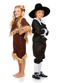 Kids in Thanksgiving costumes