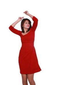 A red dress is perfect for Gabriella!