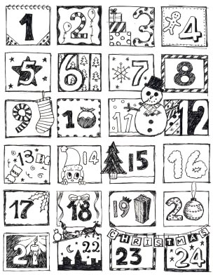 N pady do kolky adventn kalend e n pady for Free advent calendar coloring pages