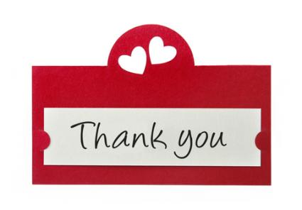 Homemade thank you card; copyright Ewa Walicka at Dreamstime.com