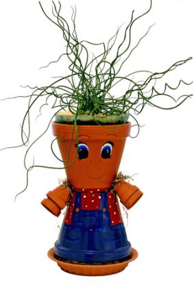 Flower pot person; Copyright Nancy Hochmuth at Dreamstime.com