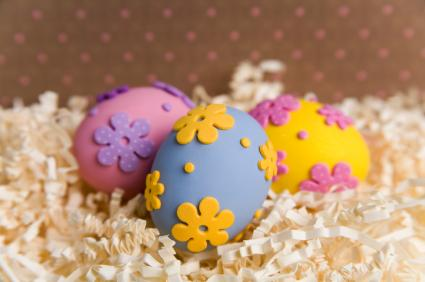 Easter eggs decorated with foamy stickers