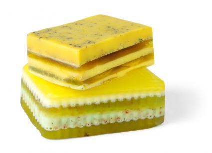 Layered bars of soap