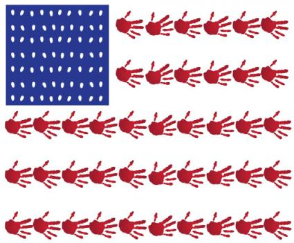 Hand print flag craft