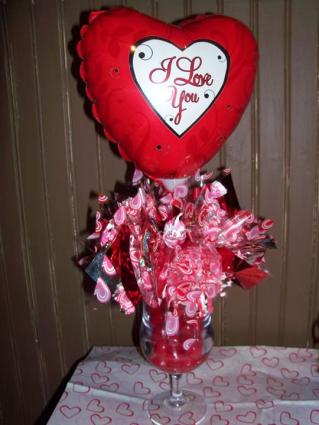candy bouquet with mylar balloon