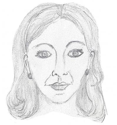 drawing of a woman's face