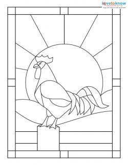 Stained Glass Pattern rooster