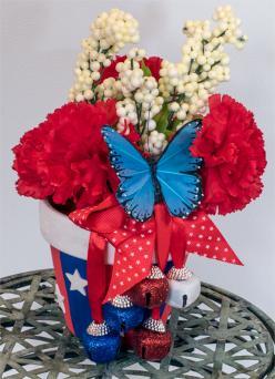 festive 4th of July flower pot