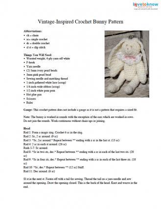 crochet bunny pattern PDF