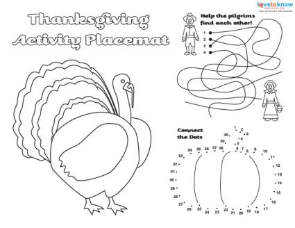 black and white Thanksgiving placemat