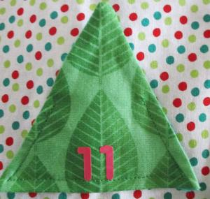 detail of fabric advent tree