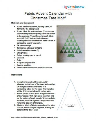 Printable Instructions for For Fabric Advent Calendar