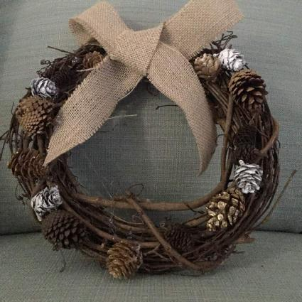 Wreath decorated with pinecones